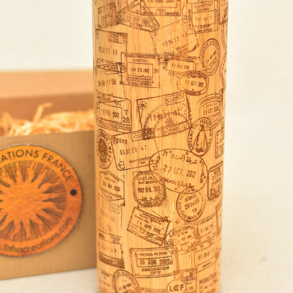 TRAVEL STAMPS Wood Thermos Vacuum Flask