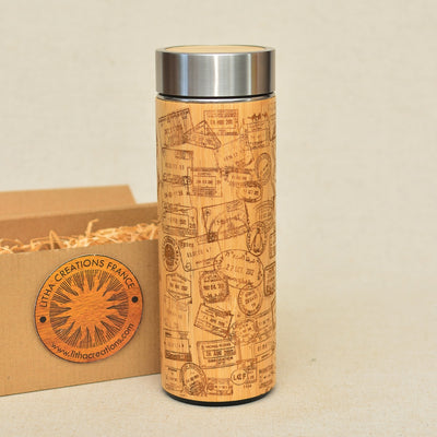 TRAVEL STAMPS Wood Thermos Vacuum Flask - litha-creations-france