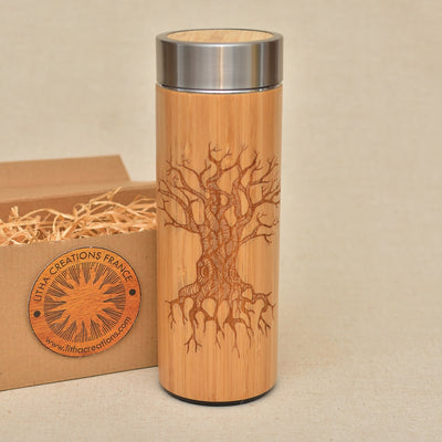 TREE OF KNOWLEDGE Wood Thermos Vacuum Flask - litha-creations-france