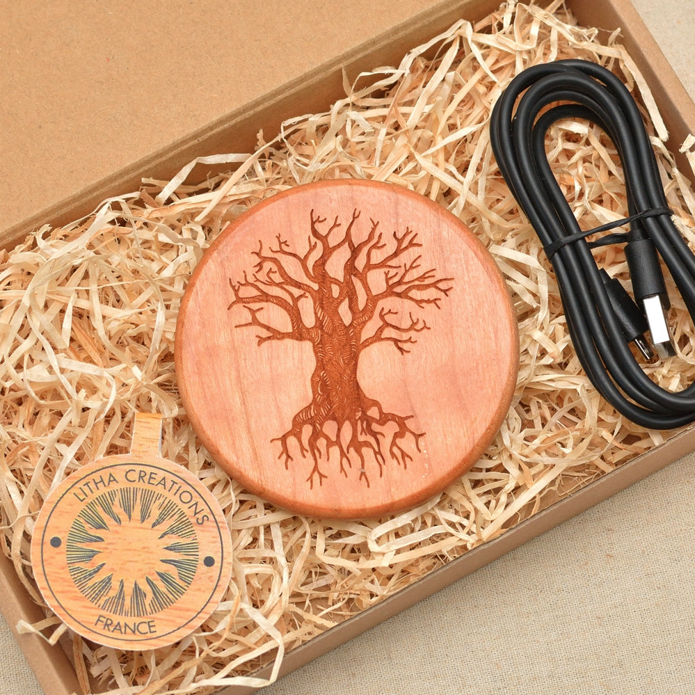 TREE of KNOWLEDGE Wood Wireless Phone Charger 10W QI Charging Pad Custom Engraved - litha-creations-france
