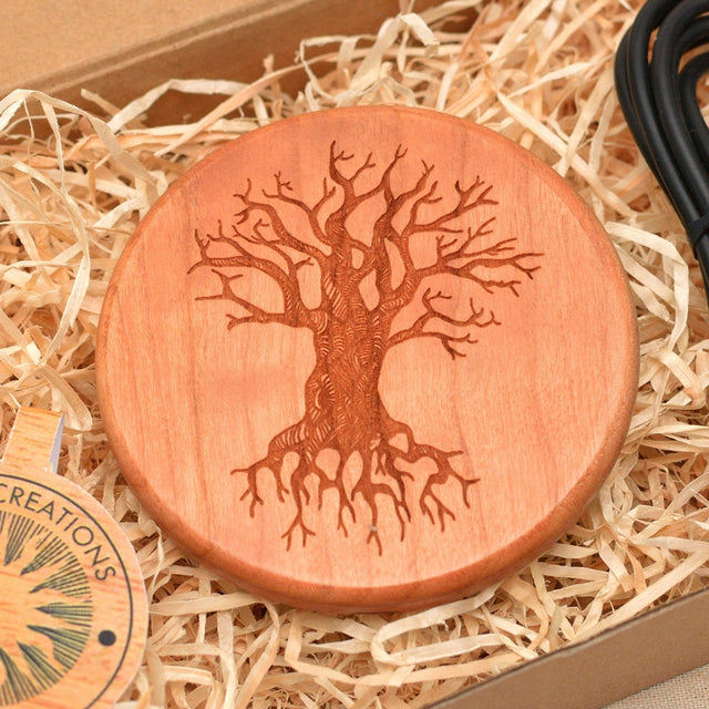 Wood QI Charger Wireless Charging Pad Custom Design TREE of KNOWLEDGE Engraved Cherry Wood