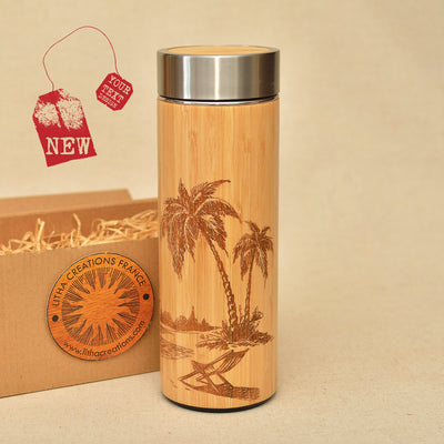 TROPICAL BEACH Wood Thermos Vacuum Flask - litha-creations-france