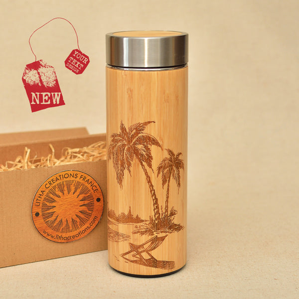 TROPICAL BEACH Wood Thermos Vacuum Flask