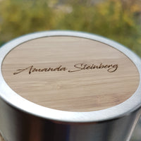 Your Image ALL AROUND the Full engraved Wood Thermos - litha-creations-france