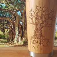 TREE OF KNOWLEDGE Engraved Wood Travel Mug Tumbler - litha-creations-france