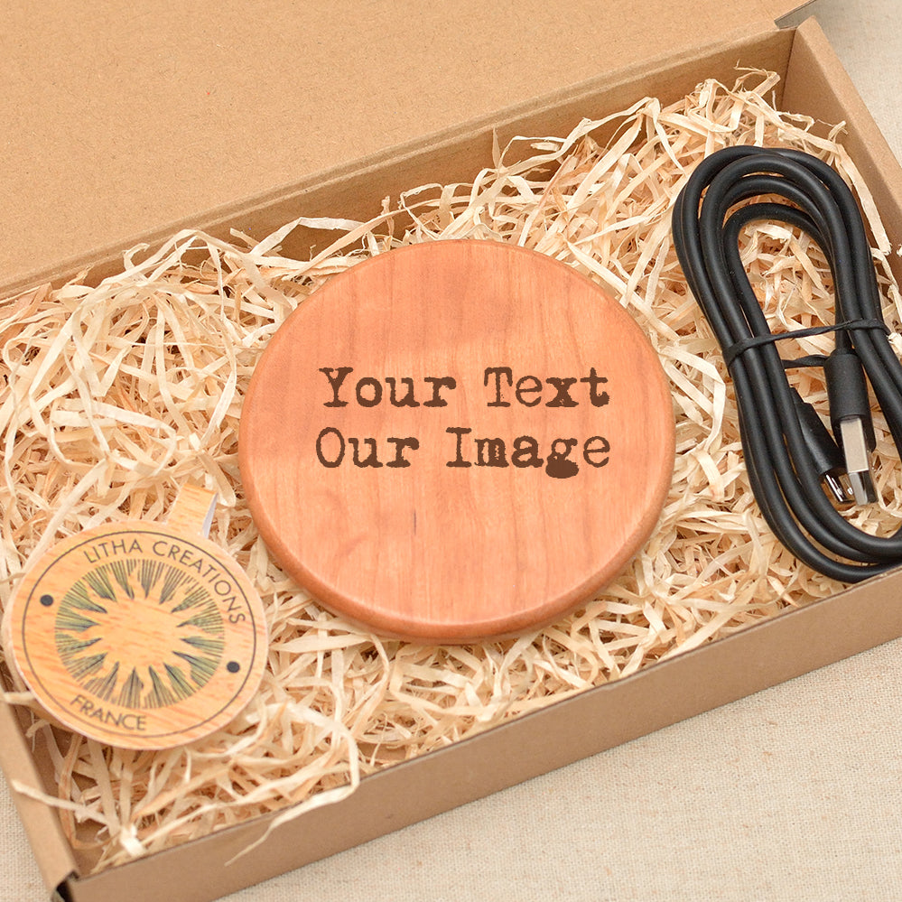 ETHNIC ELEPHANTS  Wood Wireless Phone Charger 10W QI Charging Pad Custom Engraved - litha-creations-france