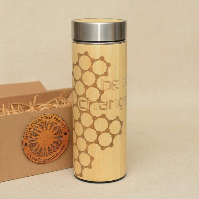 BE A CHANGE Wood Thermos Vacuum Flask