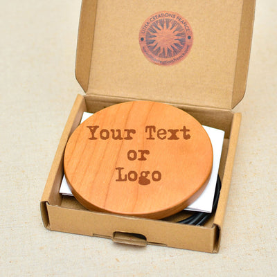 Text Engraved on Wood Wireless Phone Charger 10W QI Charging Pad Custom