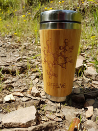 Caffeine Wood Travel Mug Custom Engraved Wooden Tumbler