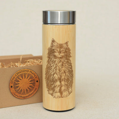 CAT Wood Thermos Vacuum Flask - litha-creations-france