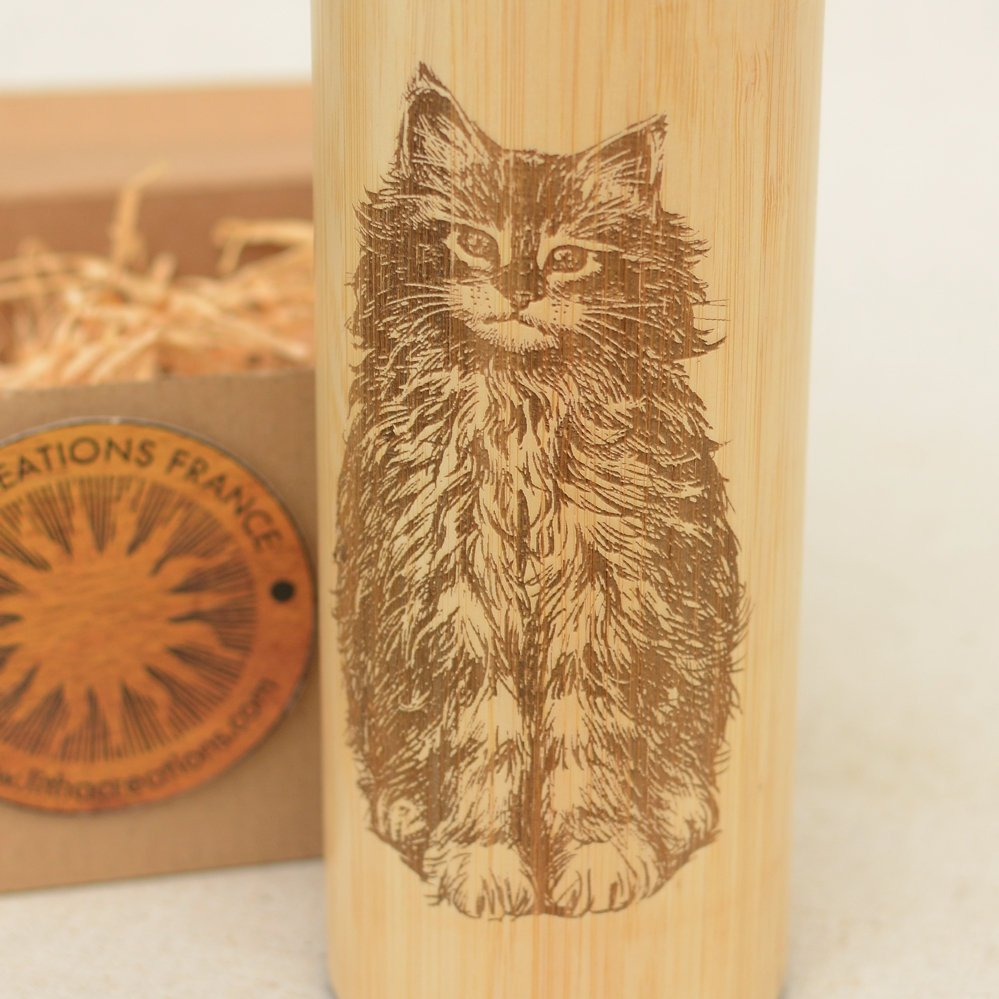 CAT Wood Thermos Vacuum Flask