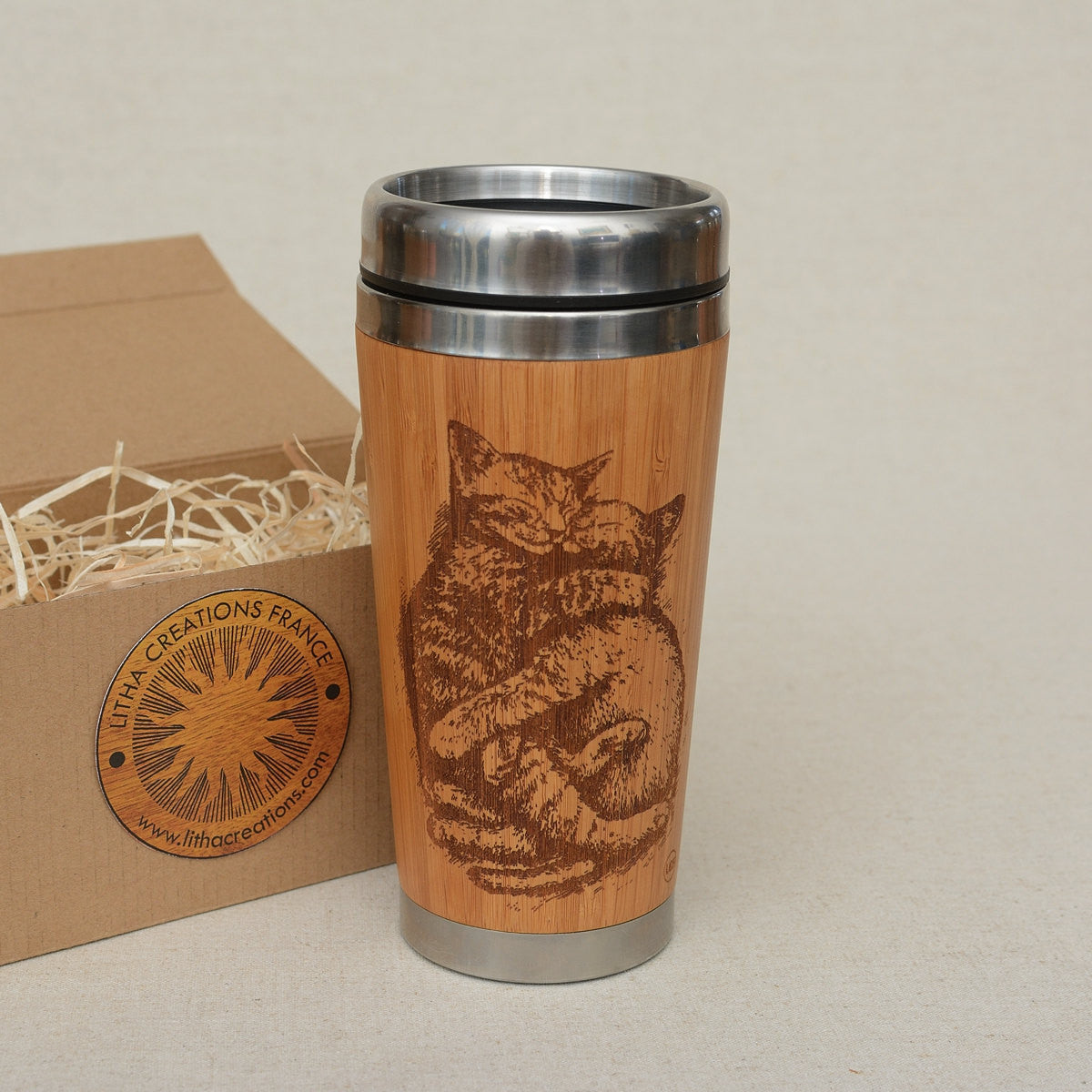 Personalized Engraved Natural Bamboo Tumbler Travel Mug ''CATS LOVE""