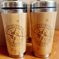 COMPASS Wood Travel Mug Engraved Tumbler
