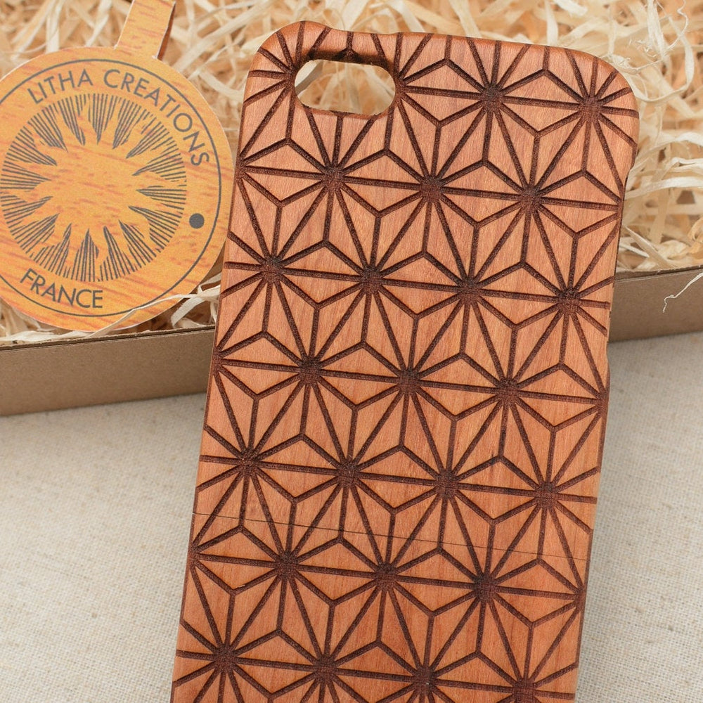 Sacred Geometric CUBIC FLOWER OF LIFE Wood Phone Case