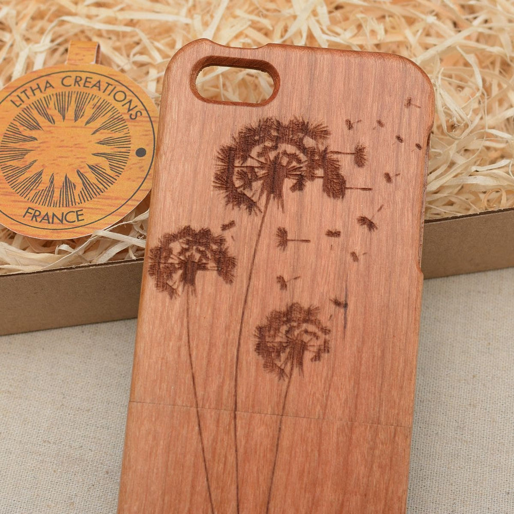 Floral DANDELIONS Wood Phone Case - litha-creations-france