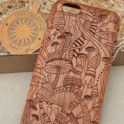 Psychedelic / Mushrooms DMT Wood Phone Case - litha-creations-france