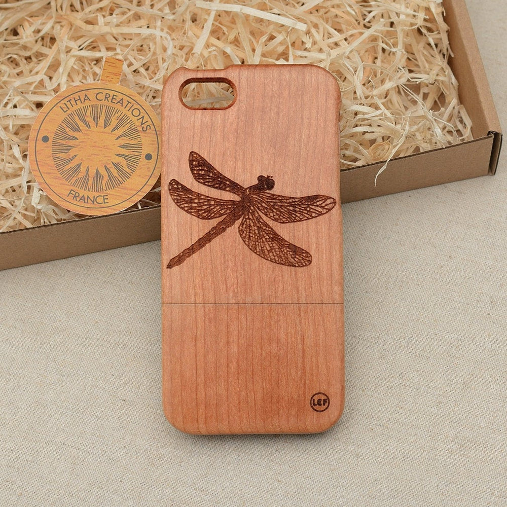 Art Deco Wood Phone Case Animals Insects DRAGONFLY