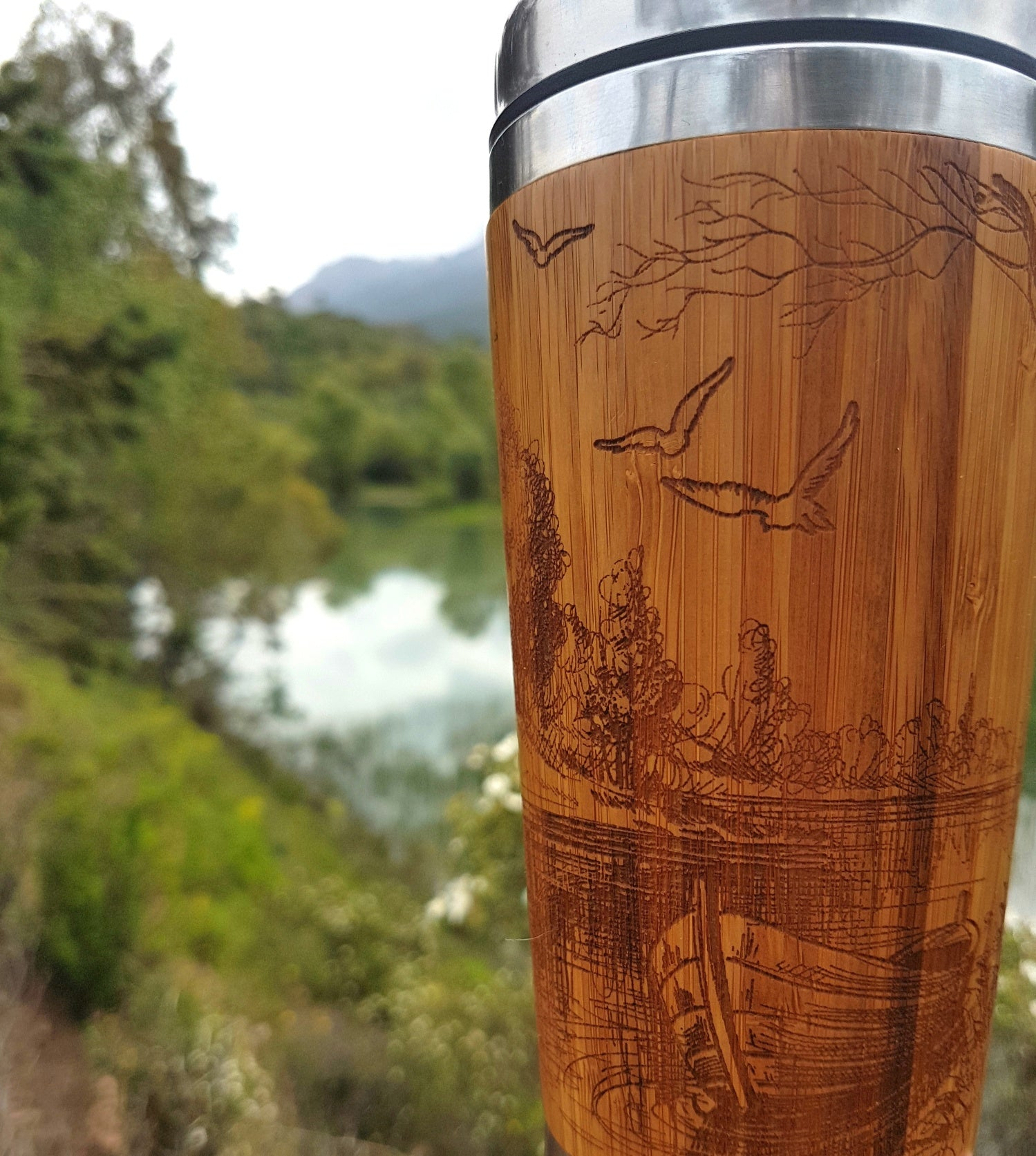 Personalized Engraved Natural Bamboo Tumbler Travel Mug EARLY MORNING Nautical Design