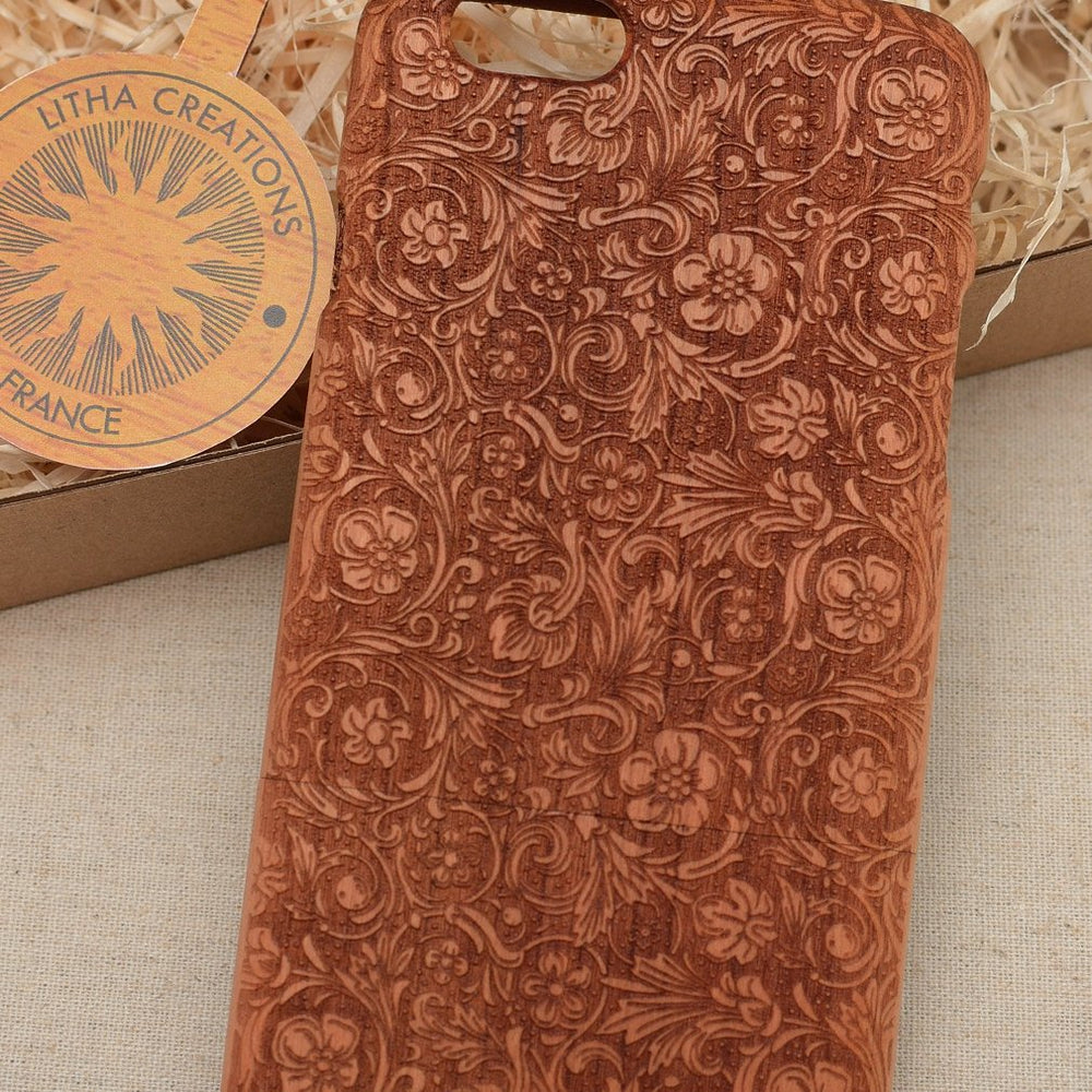 FANCY FLOWERS Wood Phone Case Nature Custom Design - litha-creations-france