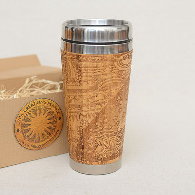 FLAT EARTH Engraved Wood Tumbler Gift Travel Mug - litha-creations-france