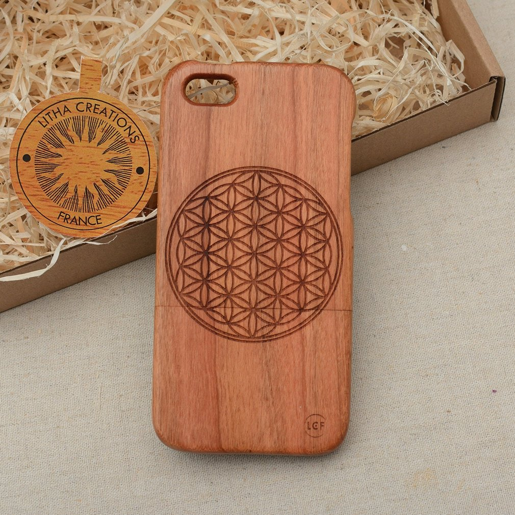 Sacred Geometric FLOWER OF LIFE Wood Phone Case