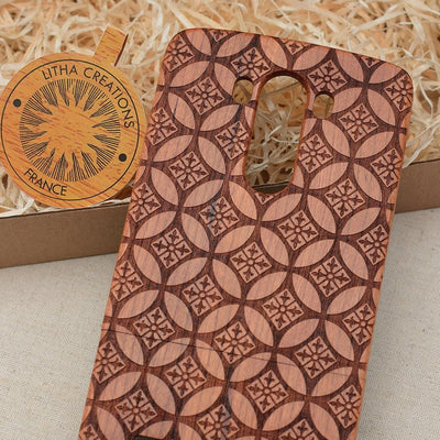 Sacred Geometric FLOWER OF LYS Wood Phone Case - litha-creations-france