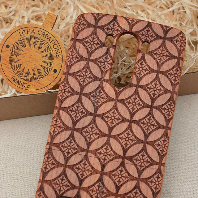Sacred Geometric FLOWER OF LYS Wood Phone Case