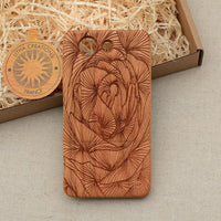 FULL FLORA Wood Phone Case Nature Custom Design - litha-creations-france