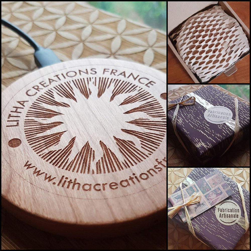 BE A CHANGE Wood Gift Wireless Phone Charger 10W QI Charging Pad Custom Engraved
