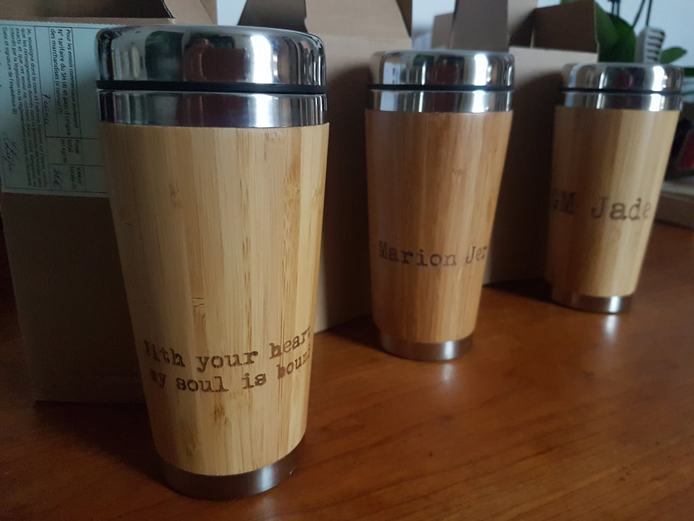 HEMP Engraved Wooden Travel Mug Tumbler - litha-creations-france