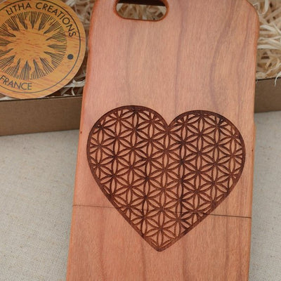 Sacred Geometric HEART FLOWER OF LIFE Wood Phone Case - litha-creations-france