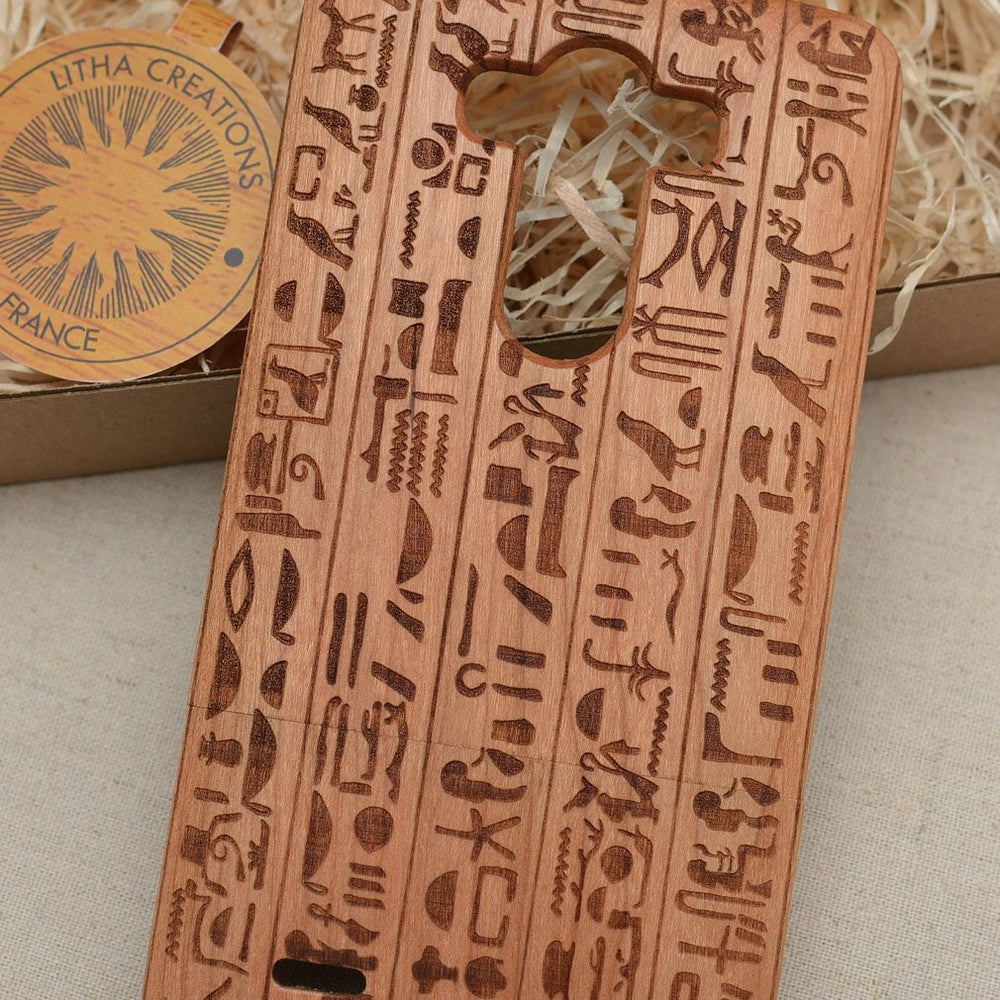 Ancient Egyptian Symbols HIEROGLYPHS Wood Phone Case - litha-creations-france