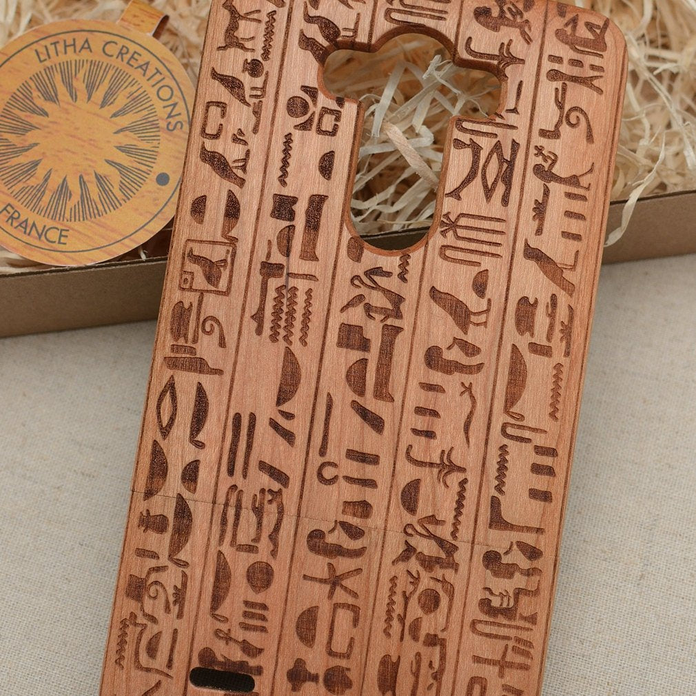 Ancient Egyptian Symbols HIEROGLYPHS Wood Phone Case