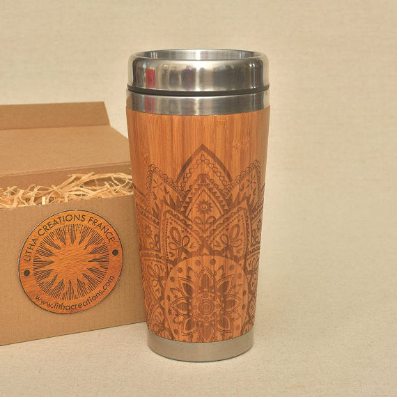HALF MANDALA Engraved Wood Travel Mug Tumbler