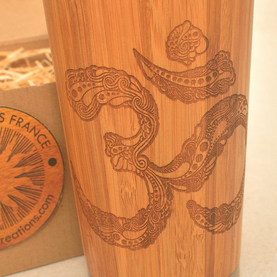 OM Engraved Wood Travel Mug Tumbler - litha-creations-france