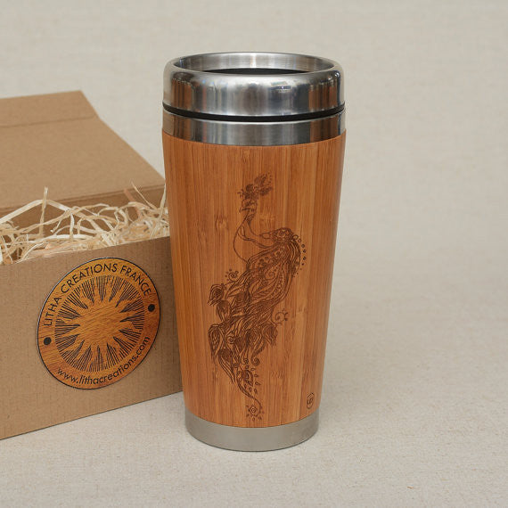 Personalized Engraved Natural Bamboo Tumbler Travel Mug ''Peacock''