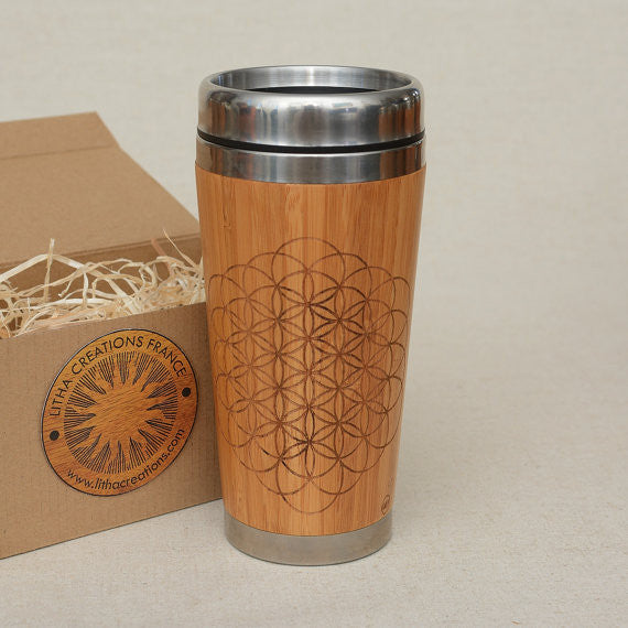 OPEN FLOWER OF LIFE  Engraved Wood Travel Mug Tumbler
