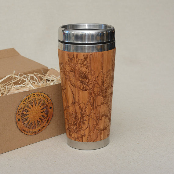 WILD POPPIES Engraved Wood Travel Mug Tumblier