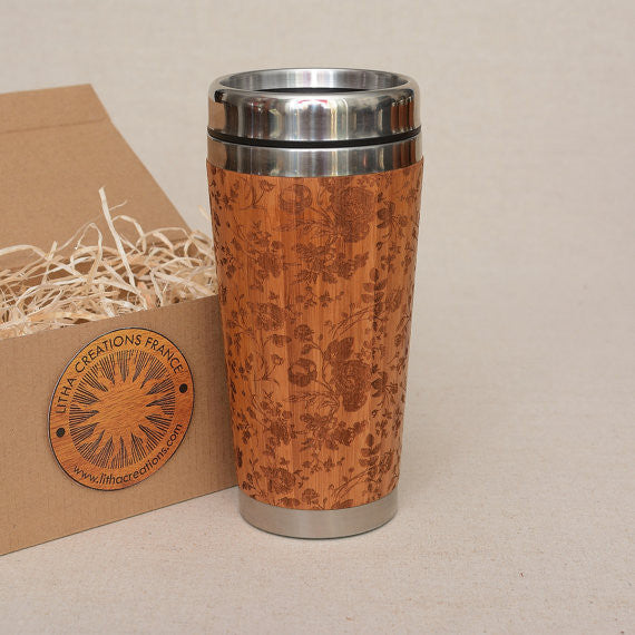 FRENCH ROSES Engraved Wood Travel Mug Tumbler
