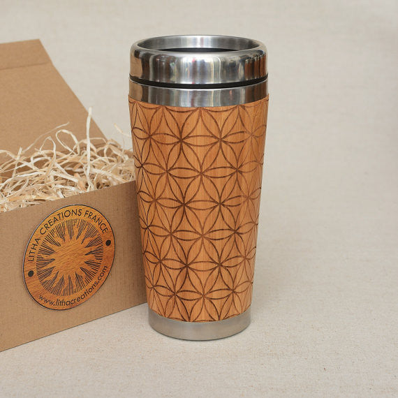 FILL FLOWER of LIFE Engraved Wood Travel Mug Tumbler - litha-creations-france