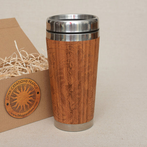 Personalized Engraved Natural Bamboo Tumbler Travel Mug ''The Flow''