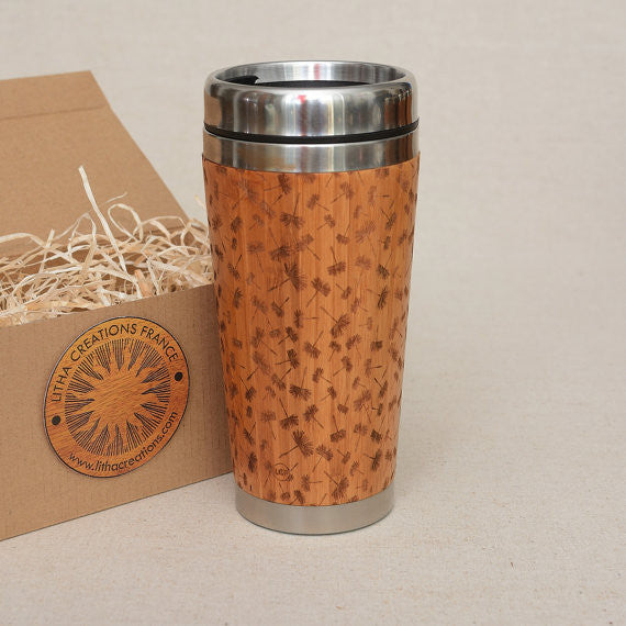 DAYDREAMING  Engraved Wood Travel Mug Tumbler
