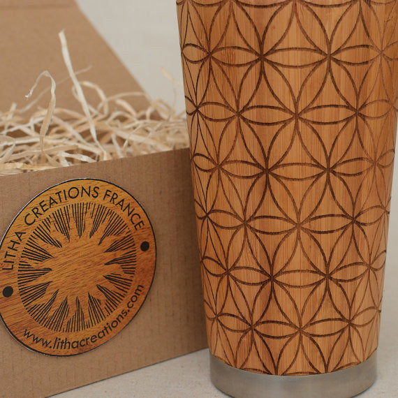 Personalized Engraved Natural Bamboo Tumbler Travel Mug ''Fill Flower of Life''