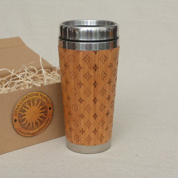 LOUIS LIGHT Wood Travel Mug Engraved Tumbler