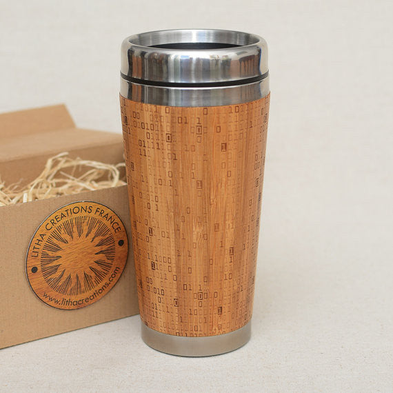 MATRIX Engraved Wood Travel Mug Tumbler - litha-creations-france