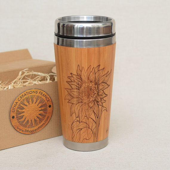 SUNFLOWER Wood Travel Mug