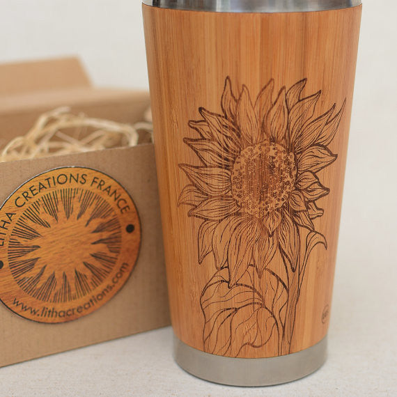 SUNFLOWER Wood Travel Mug - litha-creations-france