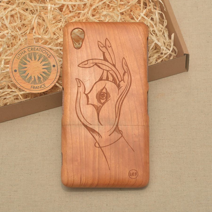 Psychedelic Custom Design HAMSA Natural Wood Phone Case - litha-creations-france