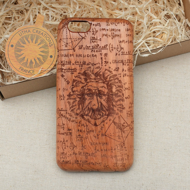 Science Custom Design EINSTAIN Natural Wood Phone Case
