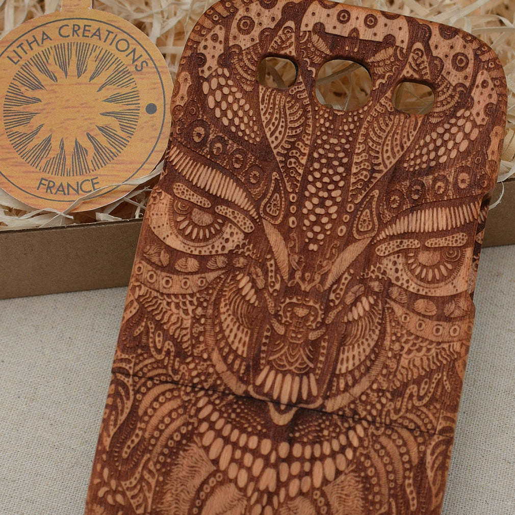 Psychedelic Custom Design AMAZON TRIP Natural Wood Phone Case